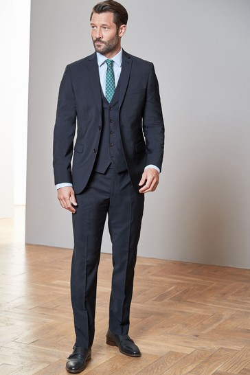 Navy Tailored Fit Signature Tollegno Fabric Suit: Jacket