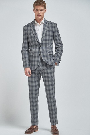 Light Grey Slim Fit Check Suit: Jacket