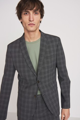 Grey Skinny Fit Motionflex Check Suit: Jacket