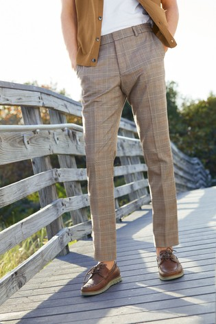 Taupe Slim Fit Check Trousers With Elasticated Waist