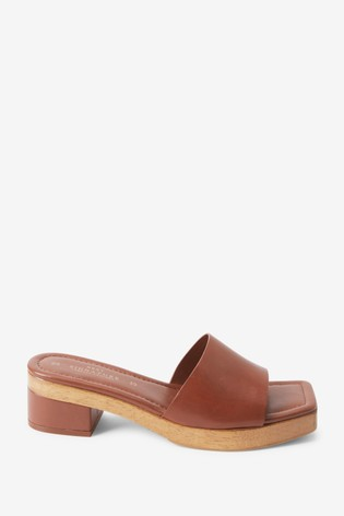 Brown Signature Leather Clog Mule Sandals