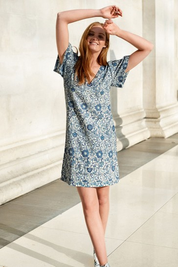 Blue Floral Morris & Co. at Next Viscose/Linen Mix Kaftan