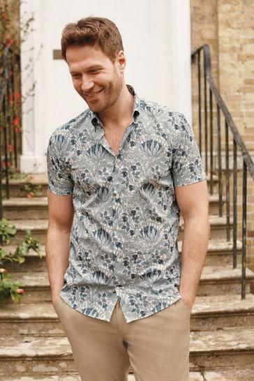 Artichoke Slim Fit Short Sleeve Morris & Co. at Next Signature Print Shirt