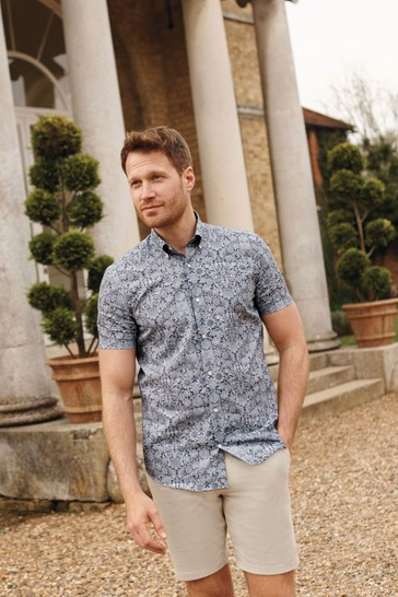 Sunflower Slim Fit Short Sleeve Morris & Co. at Next Signature Print Shirt