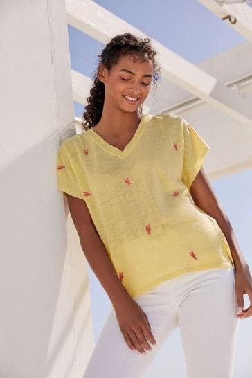 Yellow Linen Mix V-Neck T-Shirt