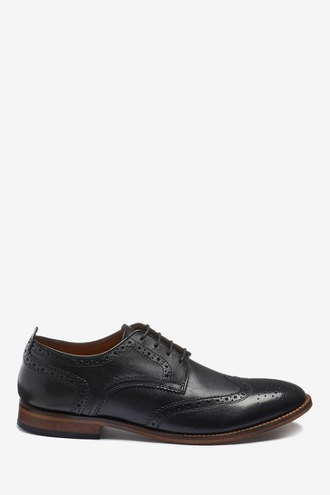 Black Regular Fit Mens Contrast Sole Leather Brogues
