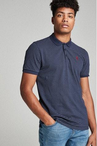 Navy Stripe Regular Fit Pique Polo Shirt