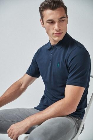 Navy Regular Fit Pique Polo Shirt