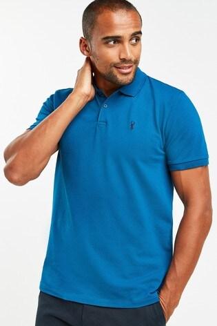 Dark Teal Regular Fit Pique Polo Shirt
