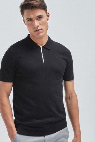 Black Premium Zip Neck Polo Shirt