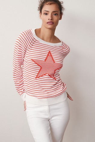 Red Stripe Star Linen Blend Crew Neck Top