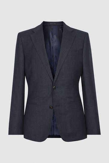 Reiss Navy Dunn Textured Slim Fit Suit: Jacket