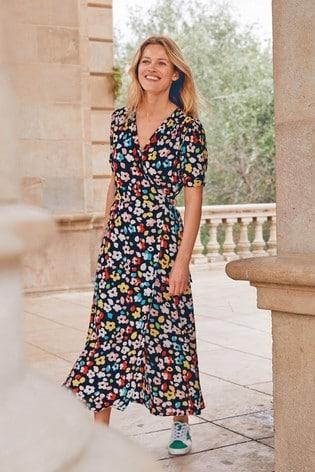Black Ground Floral Midi Wrap Dress