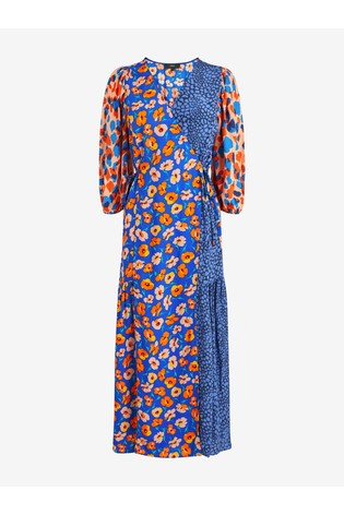 Blue/Orange Floral Wrap Midi Dress