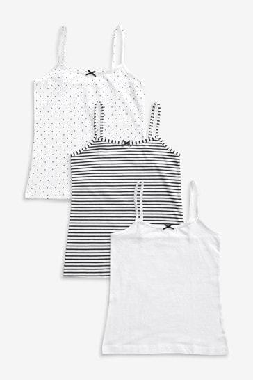 Black/White/Spot & Stripe 3 Pack Camis (1.5-16yrs)
