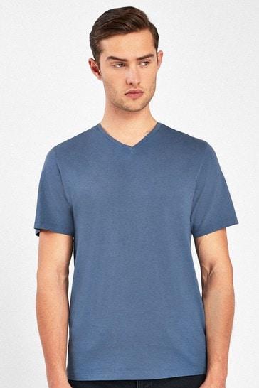 Denim Blue Regular Fit V-Neck T-Shirt