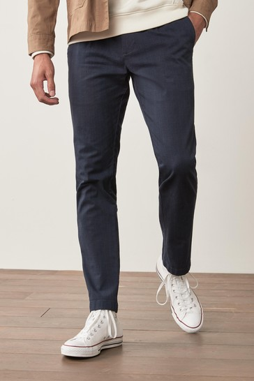 Navy Check Slim Fit Cotton Chino Trousers