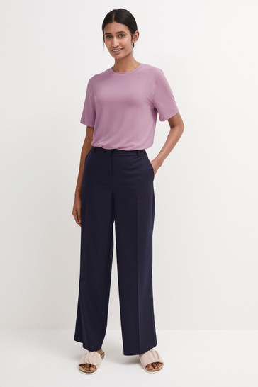Navy Tailored Wide Leg Trousers