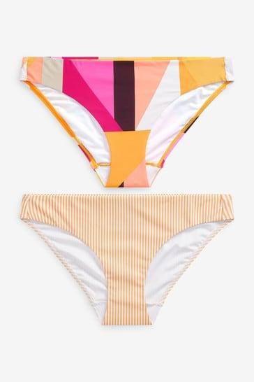 Pink Geo/Yellow Stripe High Leg Bikini Briefs 2 Pack