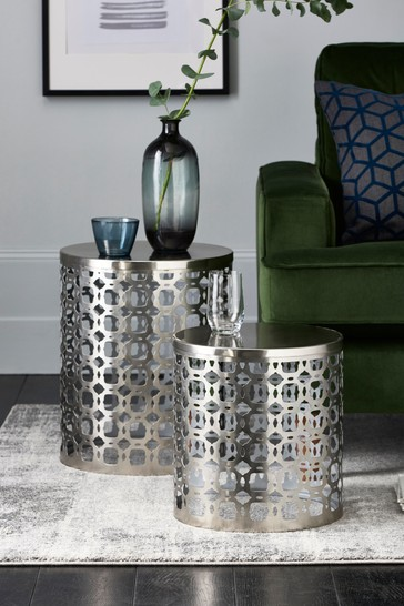 Silver Hex Nest Of 2 Tables