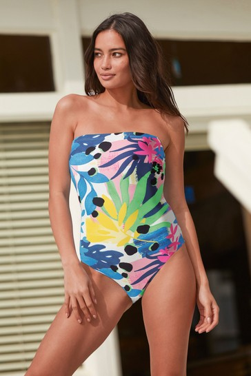 Bold Floral Sculpt And Shape Bandeau Swimsuit