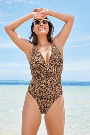 Leopard Print Plunge Shape Enhancing Swimsuit