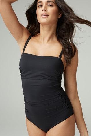 Black Sculpt And Shape Bandeau Swimsuit