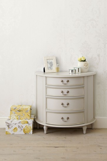 Clifton Dove Grey 4 Drawer Half Moon Chest
