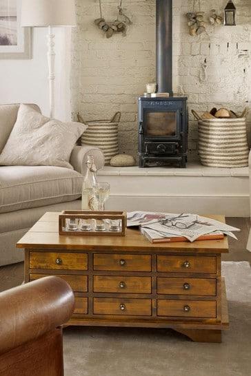 Garrat Dark Chestnut 9 Drawer Coffee Table by Laura Ashley