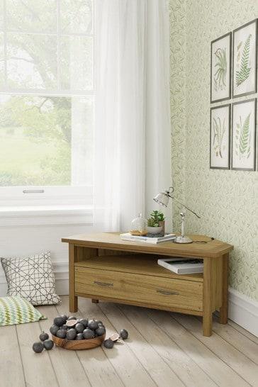 Milton Oak 1 Drawer Corner Tv Unit by Laura Ashley