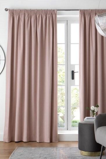 Dusky Pink Cotton Pencil Pleat Blackout/Thermal Curtains