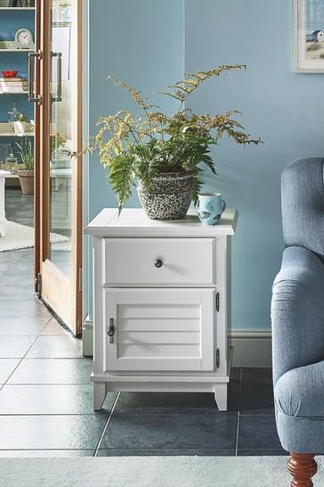Devon White 1 Door 1 Drawer Louvred Bedside Cabinet R/H by Laura Ashley