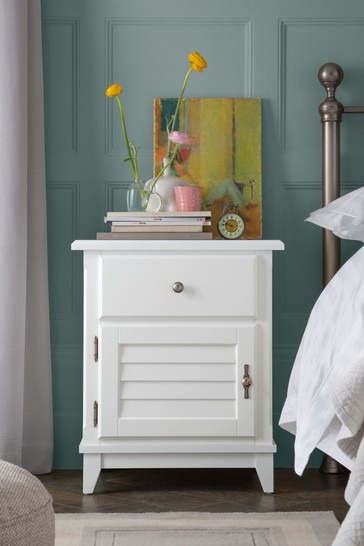 Devon White 1 Door 1 Drawer Louvred Bedside Cabinet L/H by Laura Ashley