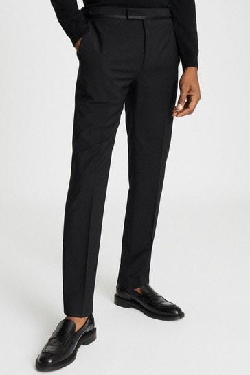 Reiss Black Poker Performance Modern Fit Tuxedo Suit: Trousers