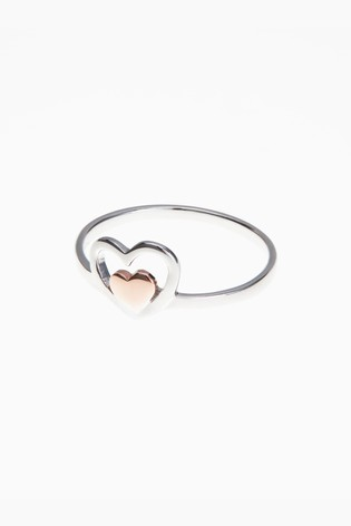 Sterling Silver Rose Gold Plated Inset Heart Ring