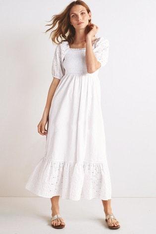 White Shirred Midi Dress