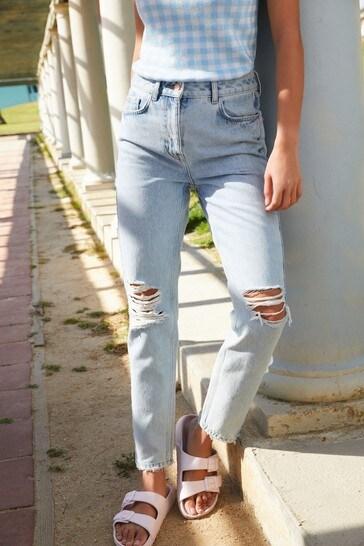 Bleach Ripped Womens Mom Jeans