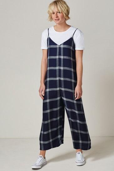 Blue Check 2 Piece Wide Leg Jumpsuit and T-Shirt