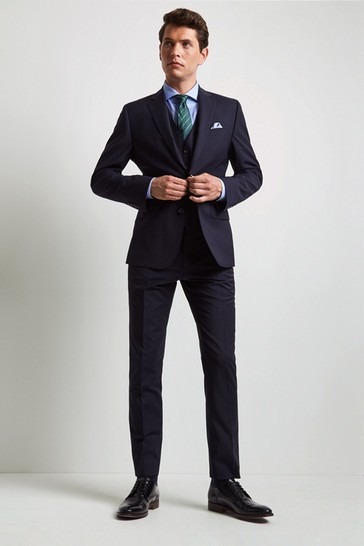 Moss 1851 Performance Tailored Fit Navy Suit: Jacket