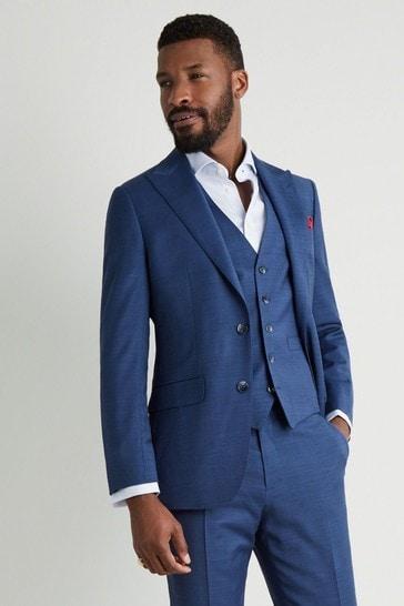 Moss 1851 Tailored Fit Blue Sharkskin Suit: Jacket