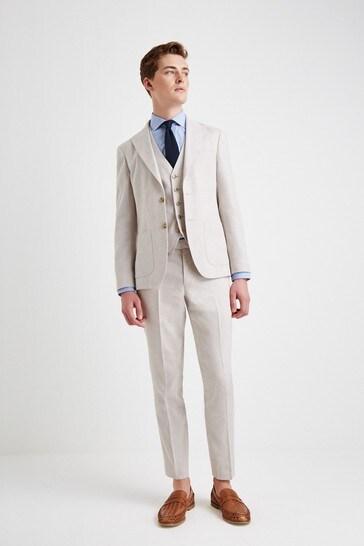 Moss London Skinny Fit Beige Linen Suit: Jacket