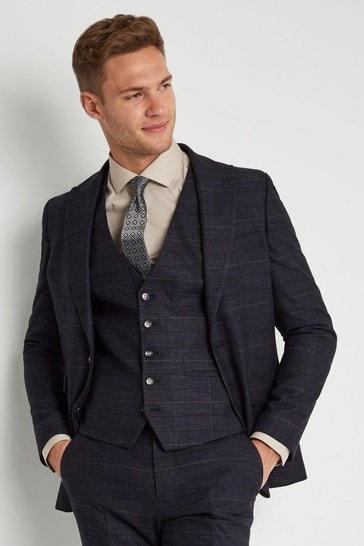 Moss London Skinny/Slim Fit Navy Check Suit: Jacket