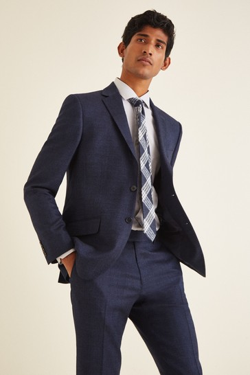 Moss London Skinny/Slim Fit Blue Twisted Suit: Jacket