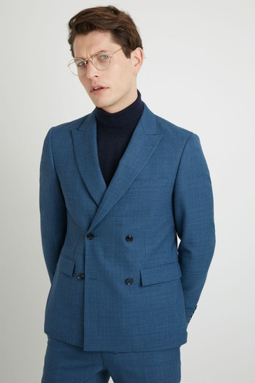 DKNY Slim Fit Summer Blue Texture Suit: Jacket