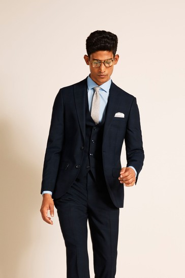 French Connection Slim Fit Navy Check Suit: Jacket