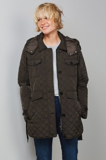 Khaki Green Belted Quilted Coat