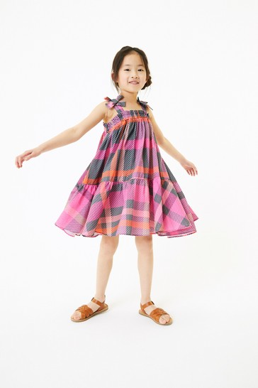 Pink Check Cotton Tie Shoulder Dress (3-16yrs)