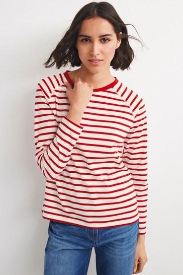 Red/White Stripe Raglan Long Sleeve Top