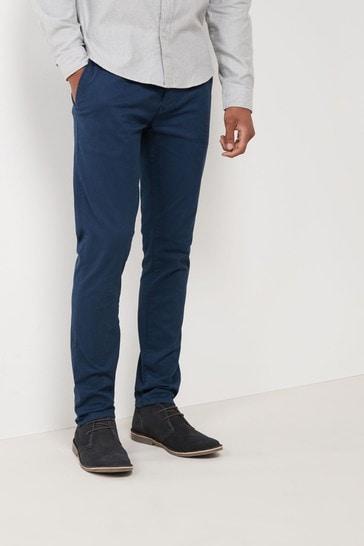 Dark Blue Slim Fit Stretch Chino Trousers