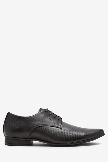 Black Perforated Derby Shoes